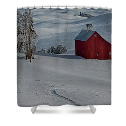 Palouse Saltbox Barn Winter Shower Curtain