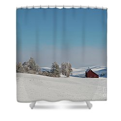 Palouse Saltbox Barn Winter  II Shower Curtain