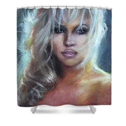 Pamela Anderson Shower Curtain by Ylli Haruni