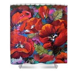Pamela's Poppies Shower Curtain