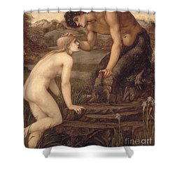 Pan And Psyche Shower Curtain by Sir Edward Burne-Jones