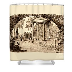 Pan Looking Upon Ruins Shower Curtain