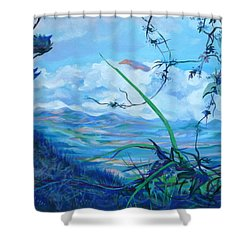 Shower Curtain featuring the painting Panama. Anton Valley by Anna  Duyunova