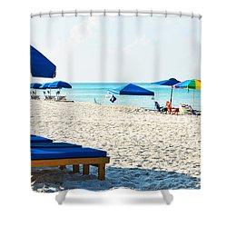 Panama City Beach Florida With Beach Chairs And Umbrellas Shower Curtain by Vizual Studio