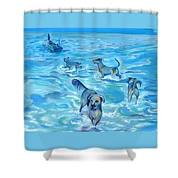 Shower Curtain featuring the painting Panama. Salted Dogs by Anna  Duyunova