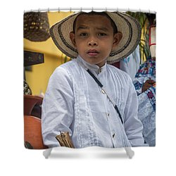 Panamanian Boy On Float In Parade Shower Curtain