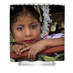 Panamanian Girl On Float In Parade Shower Curtain