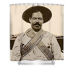 Shower Curtain featuring the digital art Pancho Villa by Antonio Romero