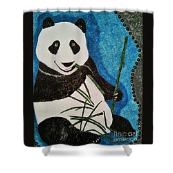 Shower Curtain featuring the painting Panda by Jasna Gopic