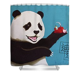 Panda Joy Blue Shower Curtain
