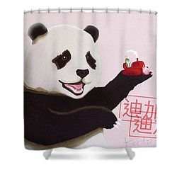 Panda Joy Pink Shower Curtain