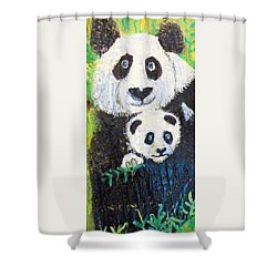 Panda Mother And Cub Shower Curtain by Ann Michelle Swadener