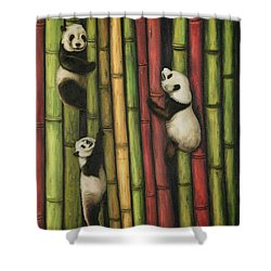 Pandas Climbing Bamboo Shower Curtain by Leah Saulnier The Painting Maniac