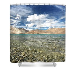 Shower Curtain featuring the photograph Pangong Lake  by Yew Kwang