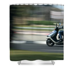Panning At Tel Aviv Shower Curtain by Shlomo Zangilevitch