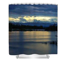 Pano Alaska Midnight Sunset Shower Curtain