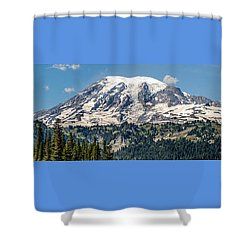 Panorama #1 Of Mt Rainier Shower Curtain by Rob Green