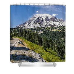 Panorama #2 Of Mt Rainier Shower Curtain by Rob Green