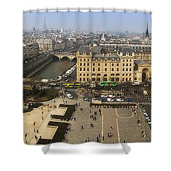 Shower Curtain featuring the photograph Panorama Atop Notre Dame by Andrew Soundarajan
