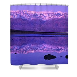Shower Curtain featuring the photograph Panorama Badwater And The Panamint Range At Sunrise Death Valley by Dave Welling