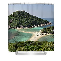panorama Koh Nang Yuan Shower Curtain by Sushko