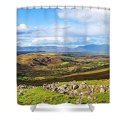 Panorama Of A Colourful Undulating Irish Landscape In Kerry Shower Curtain by Semmick Photo