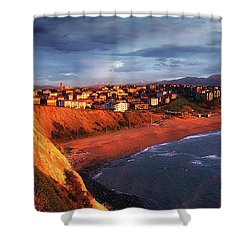 Panorama Of Aixerrota Sunset Shower Curtain