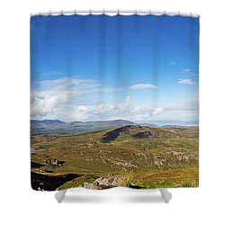 Panorama Of Ballycullane And Lough Acoose In Ireland Shower Curtain by Semmick Photo