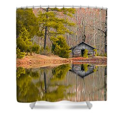 Panorama Of Cabin By The Lake Shower Curtain by Shelby  Young