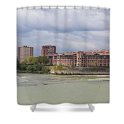 Panorama Of The Hydroelectric Power Station In Toulouse Shower Curtain by Semmick Photo