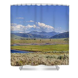 Panorama Of The Lamar Valley Shower Curtain