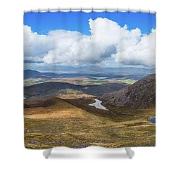 Panorama Of Valleys And Mountains In County Kerry On A Summer Da Shower Curtain by Semmick Photo