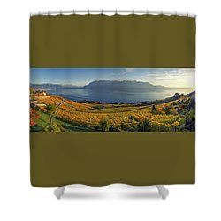 Panorama On Lavaux Region, Vaud, Switzerland Shower Curtain