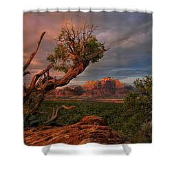 Shower Curtain featuring the photograph Panorama Storm Back Of Zion Near Hurricane Utah by Dave Welling