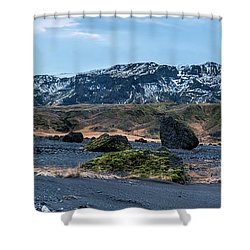 Panorama View Of An Icelandic Mountain Range Shower Curtain