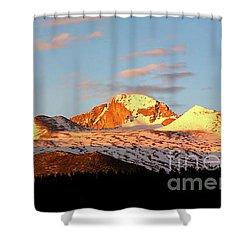 Panorama View Of Longs Peak At Sunrise Shower Curtain by Ronda Kimbrow