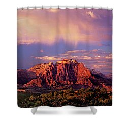 Shower Curtain featuring the photograph Panorama West Temple At Sunset Zion Natonal Park by Dave Welling