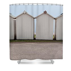 Panoramic Beach Huts Shower Curtain by Helen Northcott