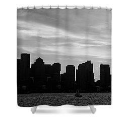 Panoramic Boston Skyline Black And White Photo Shower Curtain