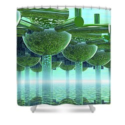 Panoramic Green City And Alien Or Future Human Shower Curtain by Nicholas Burningham