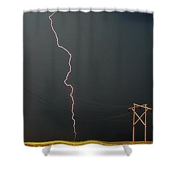 Panoramic Lightning Storm And Power Poles Shower Curtain by Mark Duffy
