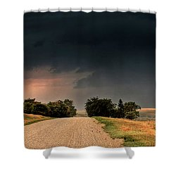Panoramic Lightning Storm In The Prairie Shower Curtain by Mark Duffy
