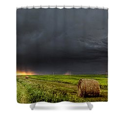 Panoramic Lightning Storm In The Prairies Shower Curtain by Mark Duffy