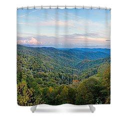 Panoramic October Views Of Smokey Mountain National Park Shower Curtain