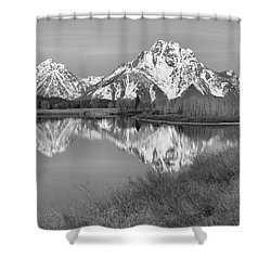 Panoramic Reflections At Oxbow Black And White Shower Curtain by Adam Jewell