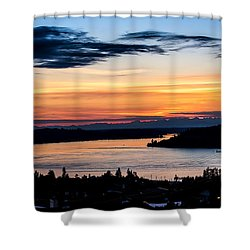 Panoramic Sunset Over Hail Passage  Shower Curtain