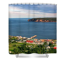 Shower Curtain featuring the photograph Panoramic View In Perce Quebec by Elena Elisseeva