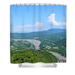 Shower Curtain featuring the photograph Panoramic View Of Southern Taiwan by Yali Shi