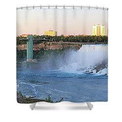 Panoramic Views Of The Peacebridge, Niagara River And American Falls Shower Curtain