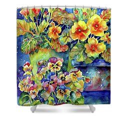 Pansies And Primroses Shower Curtain